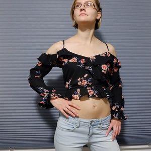 Floral Black Cold Shoulder Long Sleeve Crop Top